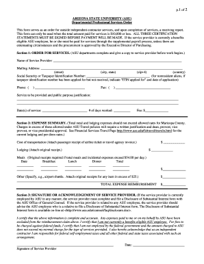 Departmental Professional Services Order Form - Arizona State  - asu