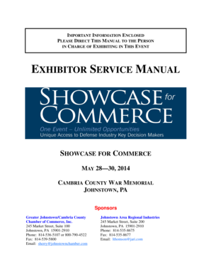 Exhibitor Service Manual - Greater Johnstown - Cambria County