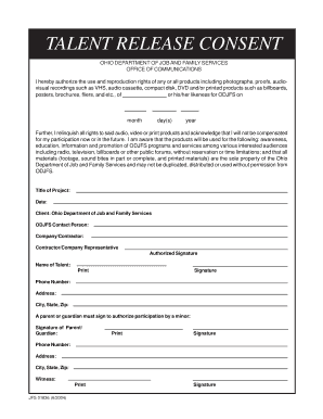 Ohio Talent Release Form