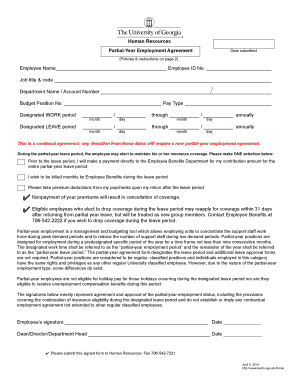 Human Resources Partial-Year Employment Agreement Employee ... - busfin uga