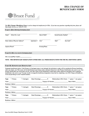 HSA CHANGE OF BENEFICIARY FORM - Bruce Fund
