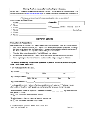 suit affecting the parent child relationship sapcr form