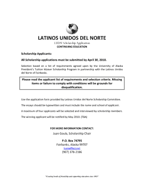 latinos unidos del norte fairbanks schoolarship application form