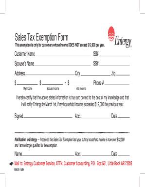 Entergy Arkansas Sales Tax Exemption - Fill Online, Printable ...