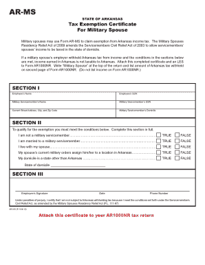 Ar Ms Tax Exemption Certificate For Military Spouse - Fill Online ...