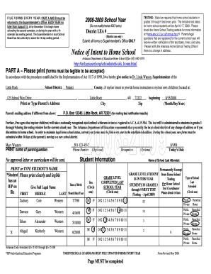 Intent To Homeschool Form Example Arkansas - Fill Online ...
