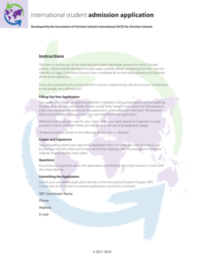 International student admission application