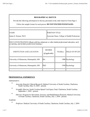 Fillable Online Academicdepartments Musc 398 Form Pages File Users Mauldinm Desktop Egede Pictures 2 Krause Biosketch Academicdepartments Musc Fax Email Print Pdffiller