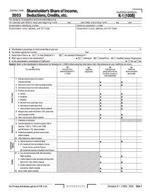 Fillable Online ftb ca Form 100S Schedule K-1 - 2003 Shareholder& ...