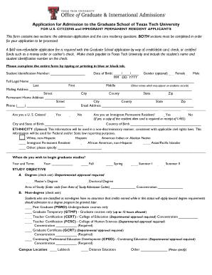 Ttu Graduate School >> Application For Admission To The Graduate School Of Texas Tech