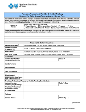 Bcbstx Request For Appeal Fillable - Fill Online, Printable ...