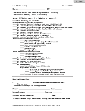Fillable Online xray tamu Safety Release Form - X-ray Diffraction ...