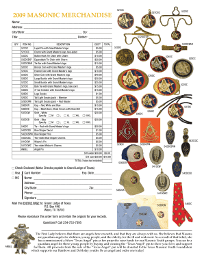 grand lodge of texas merchandise form