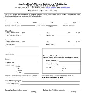 Fillable Online abpmr Canadian Resident Registration Form - The ...