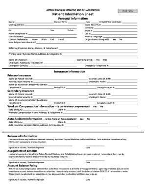 patient information form sample