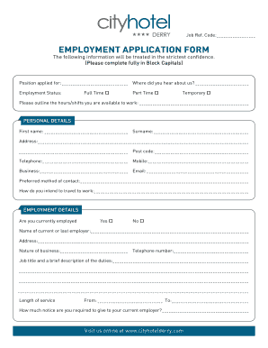Hotel Application Forms - Fill Online, Printable, Fillable, Blank ...