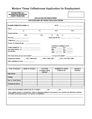 Sample Employment Application Form Templates - Fillable ...