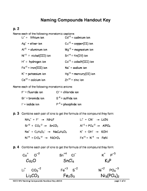 P 6 Naming Compounds Handout Key - Fill Online, Printable, Fillable ...