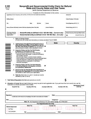 nc dor saes tax refund fillable form e585