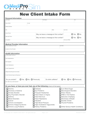 99 Printable Client Intake Form Templates - Fillable Samples in PDF