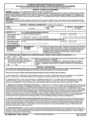 Dd Form 2648 1 Jan 11 - Fill Online, Printable, Fillable, Blank ...
