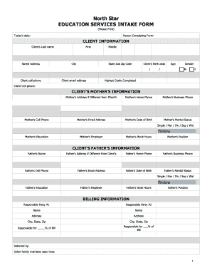 client intake form law firm pdf Fillable Online Client Intake Form - North Star Education Services ...