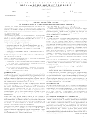 room and board agreement form