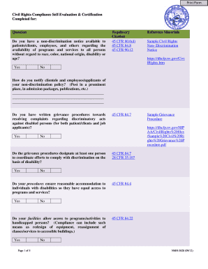 Civil Rights Self-Evaluation Form - Division of Health Care  - dhcfp nv