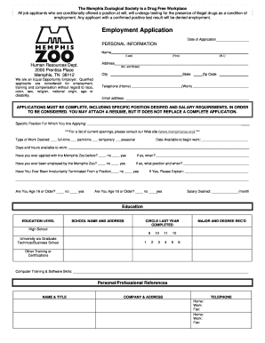 memphis zoo careers form