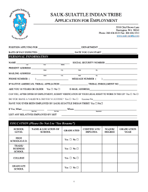 fillable online employment application sauk suiattle indian tribe
