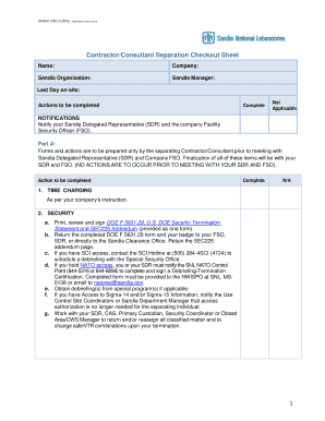 SF 4001-CSC;CONTRACTOR/CONSULTANT SEPARATION CHECKOUT SHEET - sandia