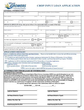 Loan Application Form - Wheat Growers