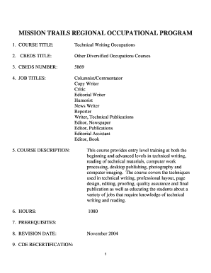 rop course outline template form