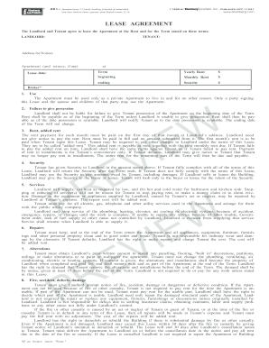 Fillable Online Lease Agreement Blumberg Legal Forms