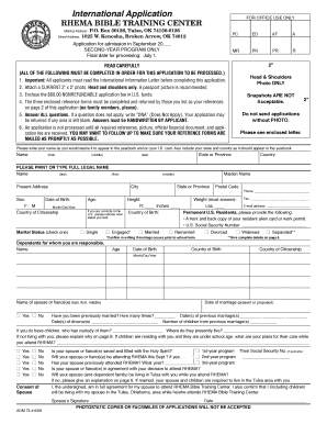bible school application form sample
