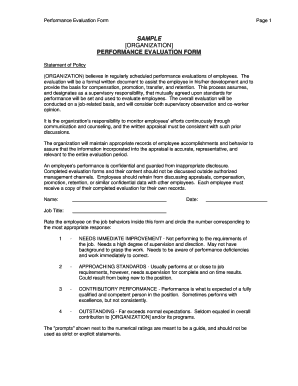 performance evaluation form sample