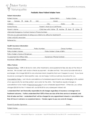 Pediatric Patient Intake Form - Fill Online, Printable, Fillable ...