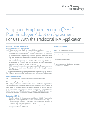 sep ira adoption agreement morgan stanley form
