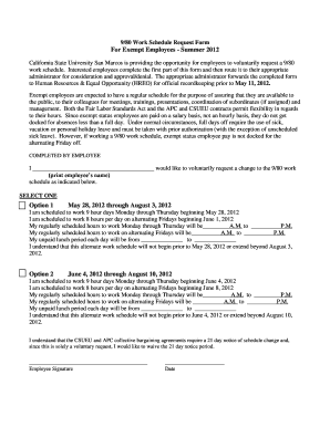 Fillable Online csusm Summer 9/80 Work Schedule Request Form ...