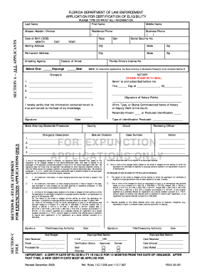 Expunge Fdle Online - Fill Online, Printable, Fillable, Blank ...