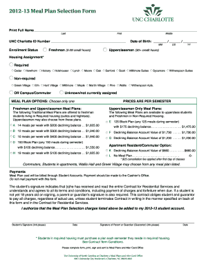 2012-13 Meal Plan Selection Form - Auxiliary Services at UNC ... - aux uncc