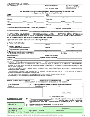 Fillable Online Bhs Umn Information Release Request Form Mental