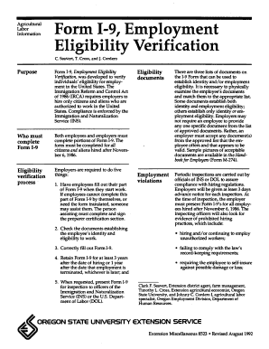 Form 1-9, Employment Eligibility Verification - ScholarsArchive at ... - ir library oregonstate