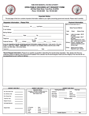 Toms River Nj Opra Request - Fill Online, Printable, Fillable ...