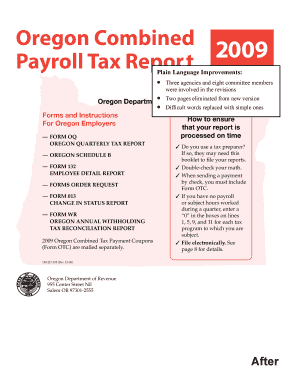 Oregon Quarterly Tax Report Form Oq Instructions Fill Online