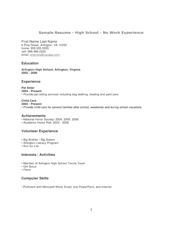 High School Resume Template Pdf Fill Online Printable Fillable