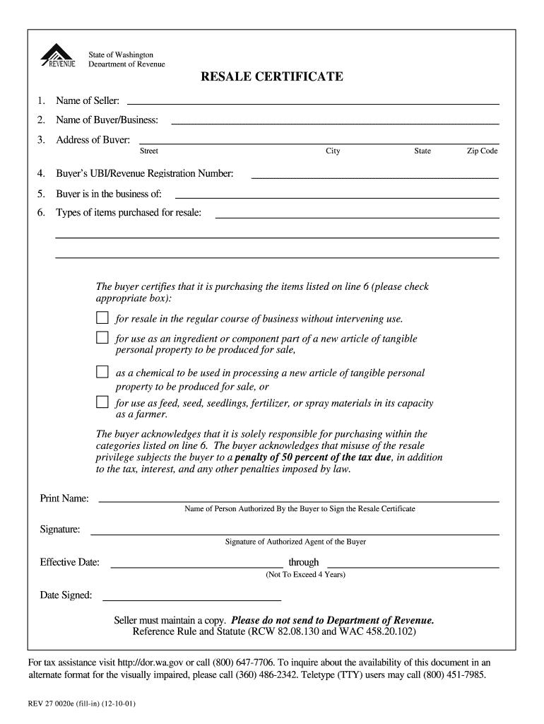certificate resale washington state form blank pdffiller printable