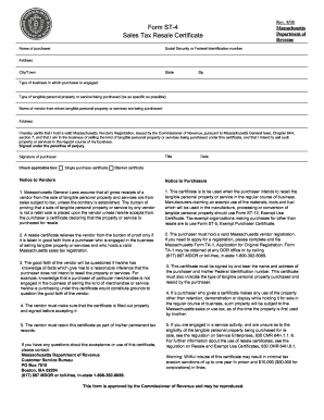 Fillable Online Form ST-4 Sales Tax Resale Certificate Fax Email ...