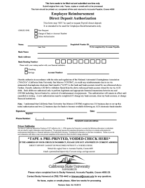 Employee Reimbursement Direct Deposit Authorization Form - csusm