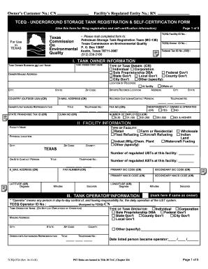 Tceq Underground Storage Tank Registration Self Certification Form ...